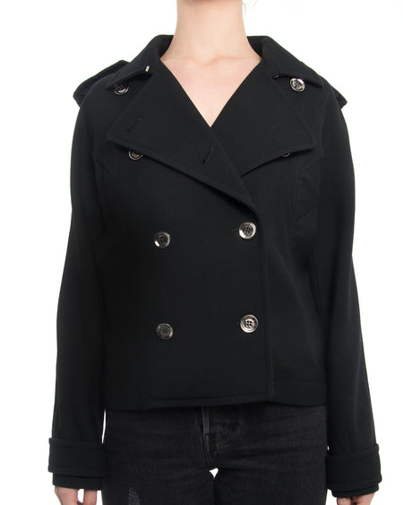 Gucci Black Double Breasted Jacket with Silver Buttons
