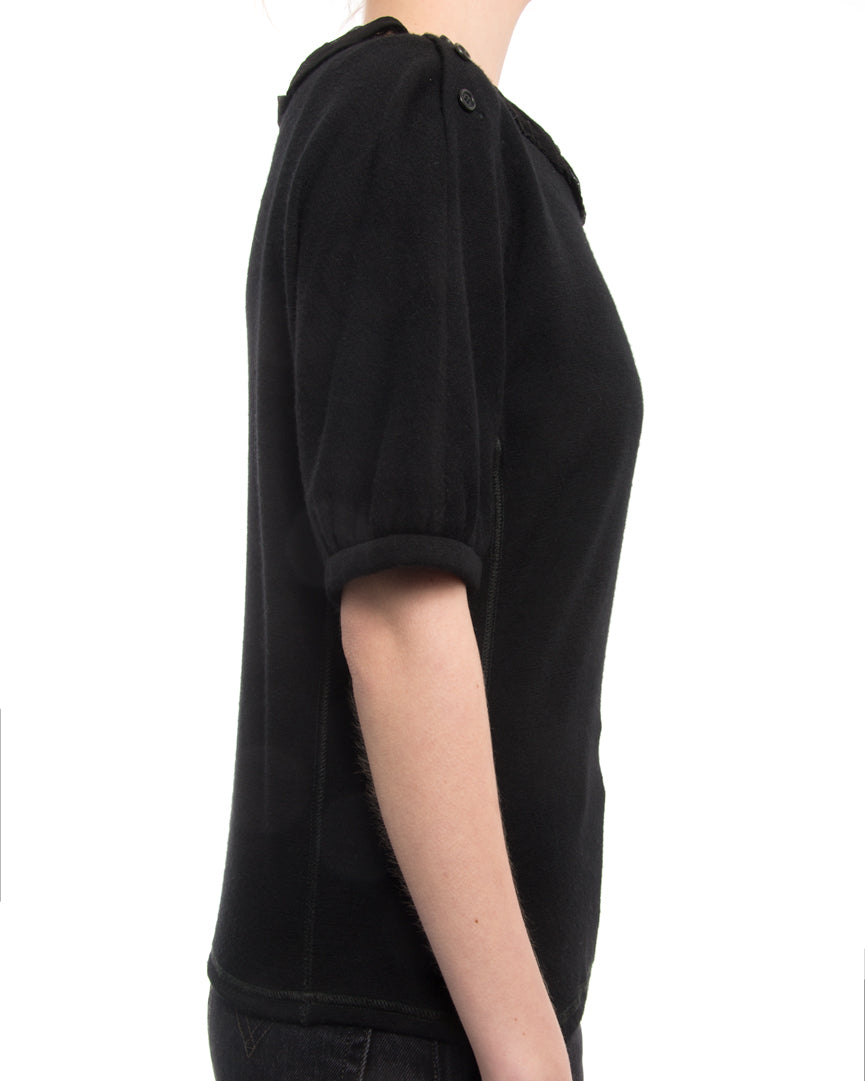 Louis Vuitton Black Knit Top with Silk Chiffon Sash Neckline Trim
