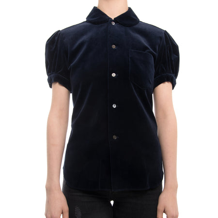 Comme Des Garcons SHIRT Blue Velvet Top with Cap Sleeves - S
