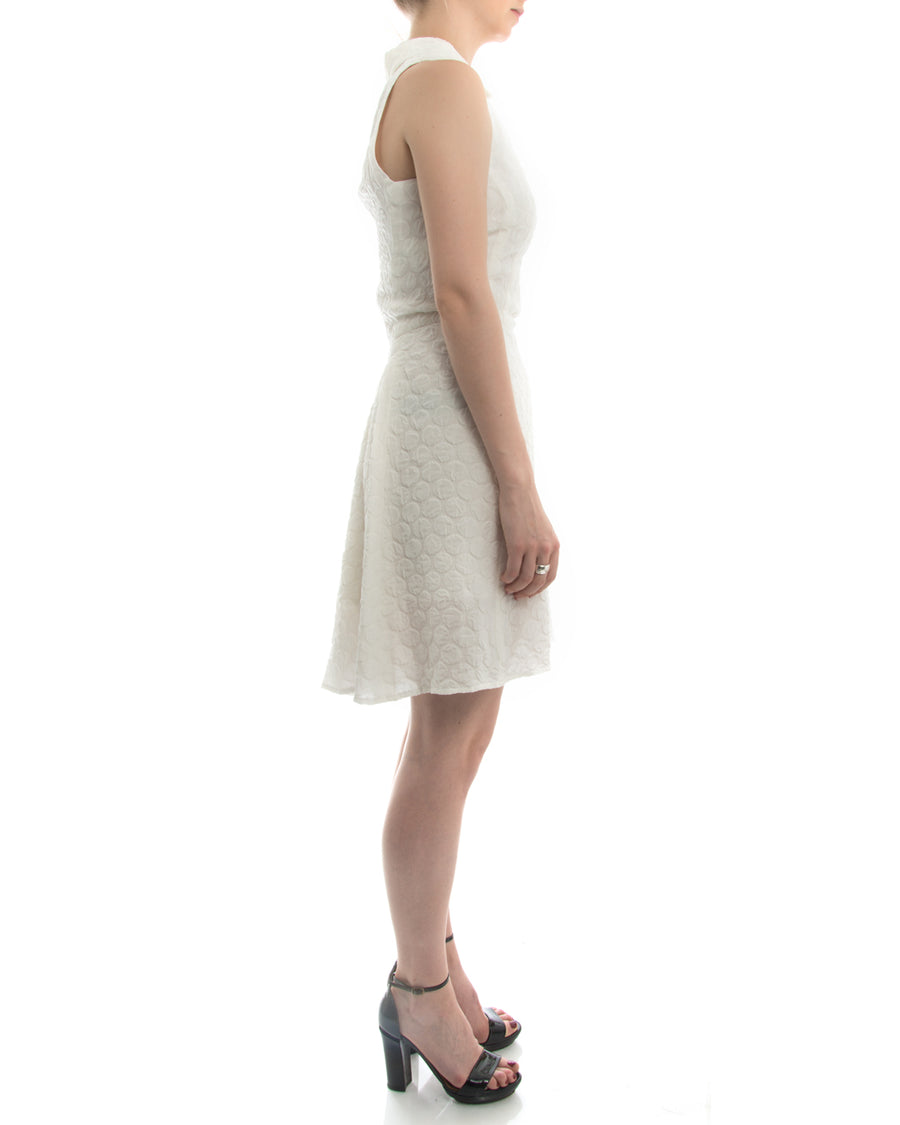 Rochas White Sleeveless Silk Textured Dress - 0