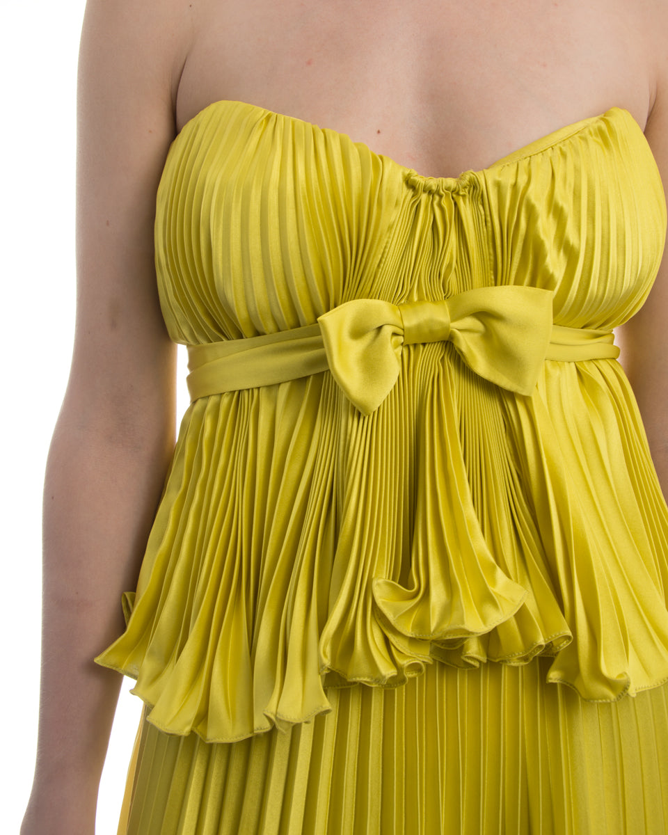 Badgley Mischka Couture Chartreuse Yellow Strapless Pleated Dress - 4