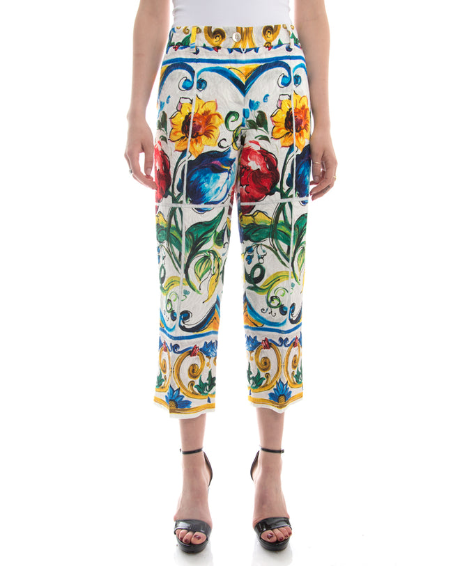 Dolce and Gabbana Multi-Color Floral Cotton Capri Pants - 10
