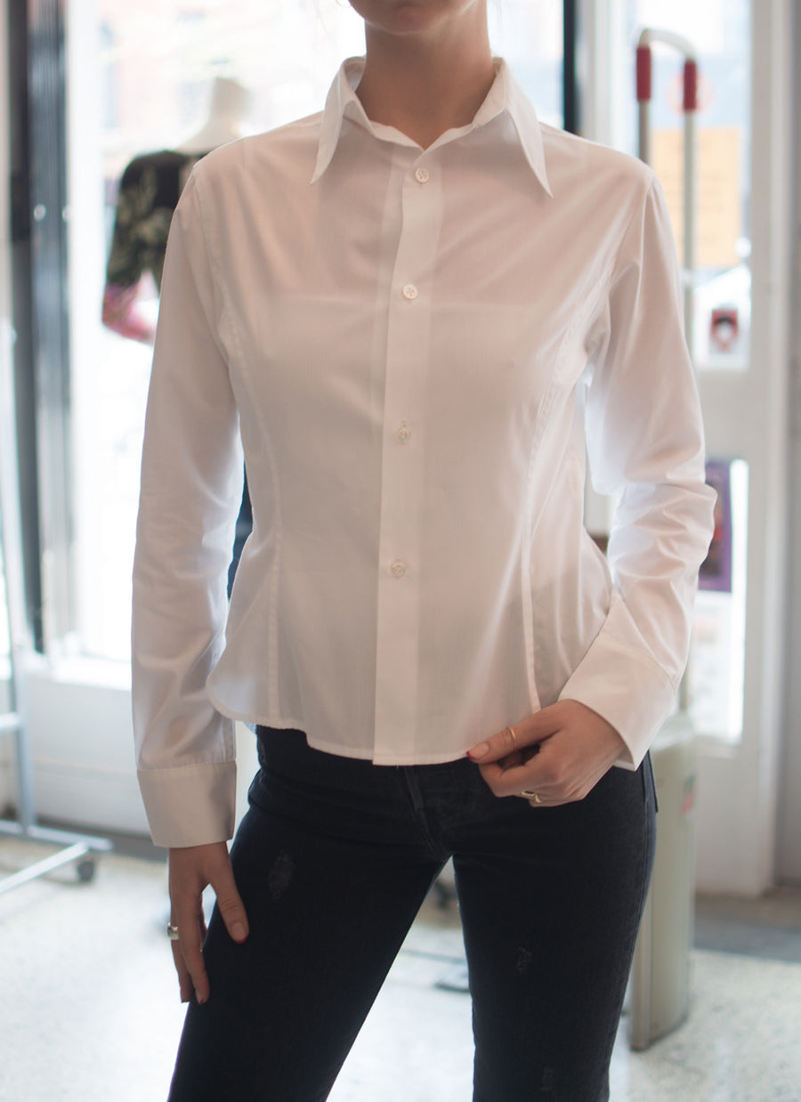 Yohji Yamamoto White Button Down Cotton Shirt - S
