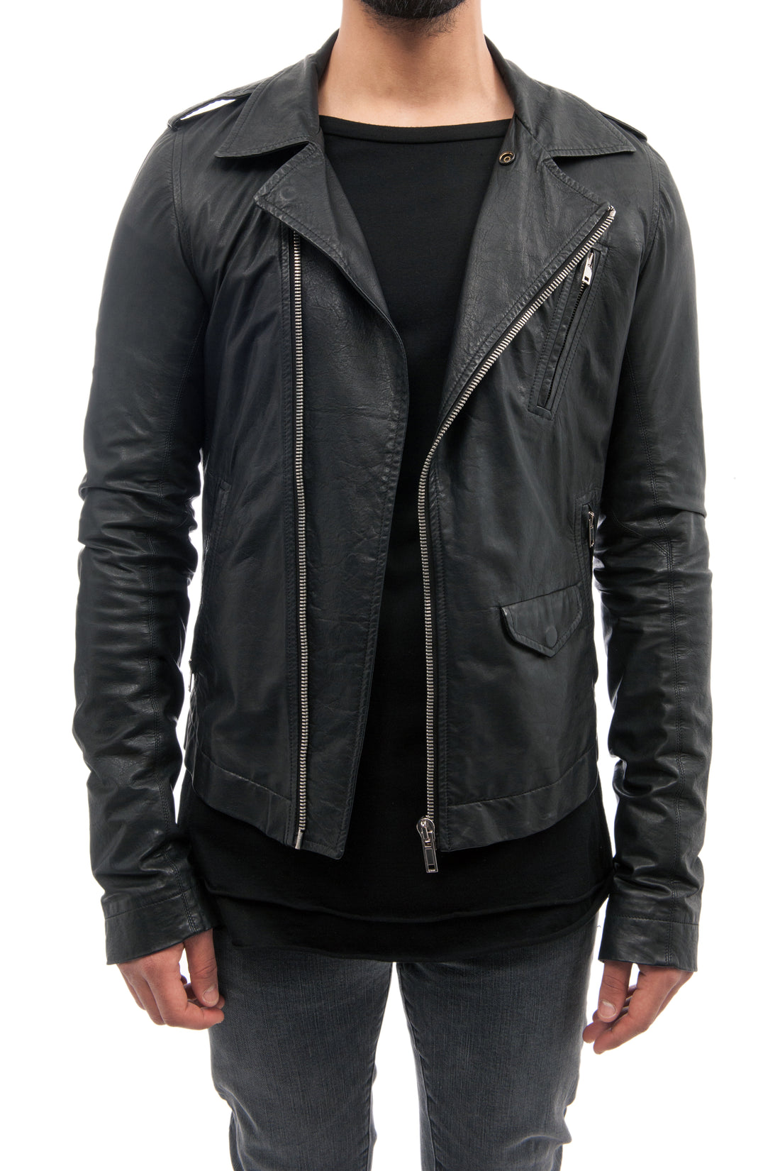 Rick Owens Black Leather Zip Slim Biker Jacket