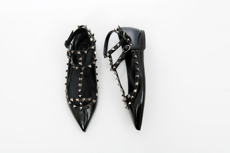 Valentino Black Patent Leather Rock Stud Flat Shoes