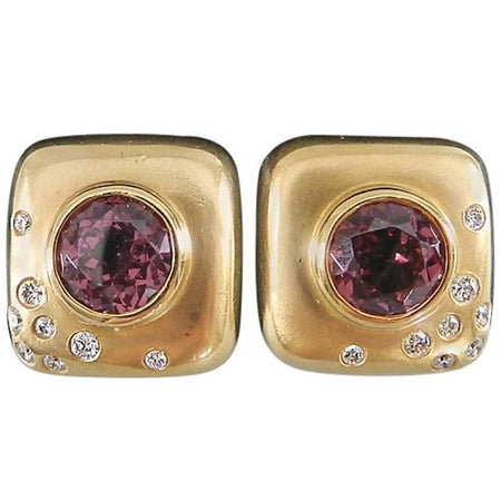 Angela Cummings Pink Tourmaline Diamond Brushed Gold Square Earrings
