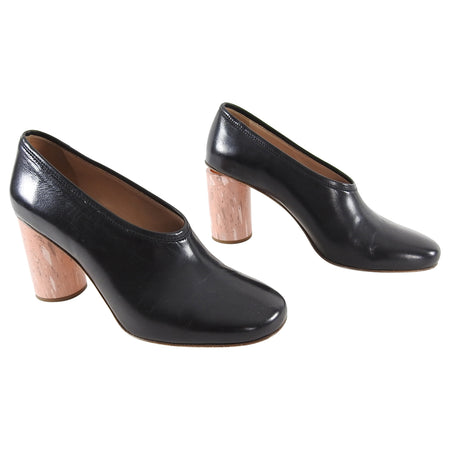Acne Studios Amy Black Leather and Pink Heel Pumps - 38