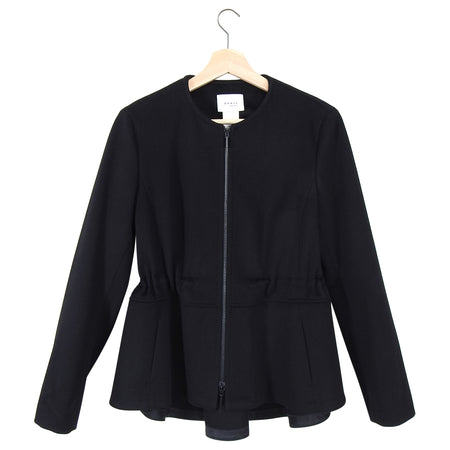Akris Punto Black Wool Zip Front Drawstring Jacket - 36 / 4