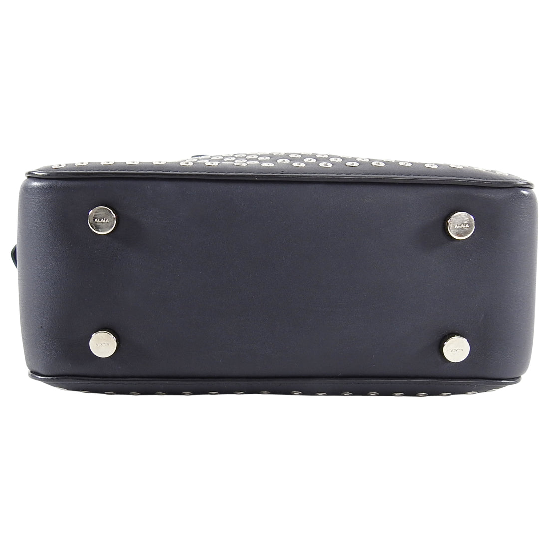 Alaia Charcoal Grey Grommet Small Crossbody Bag