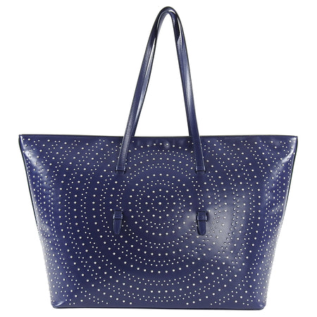 Alaia Navy Large Silver Studded Tote Bag