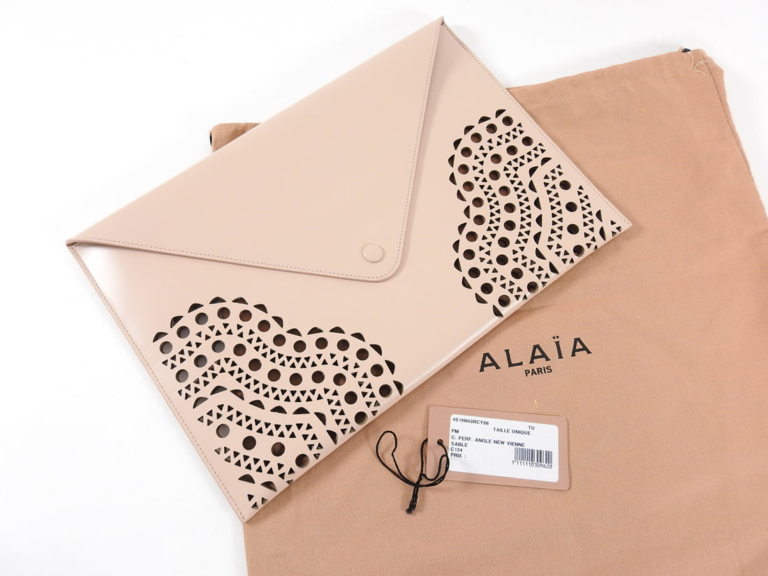 Alaia Nude Perforated Cut Out Large Envelope Clutch Bag