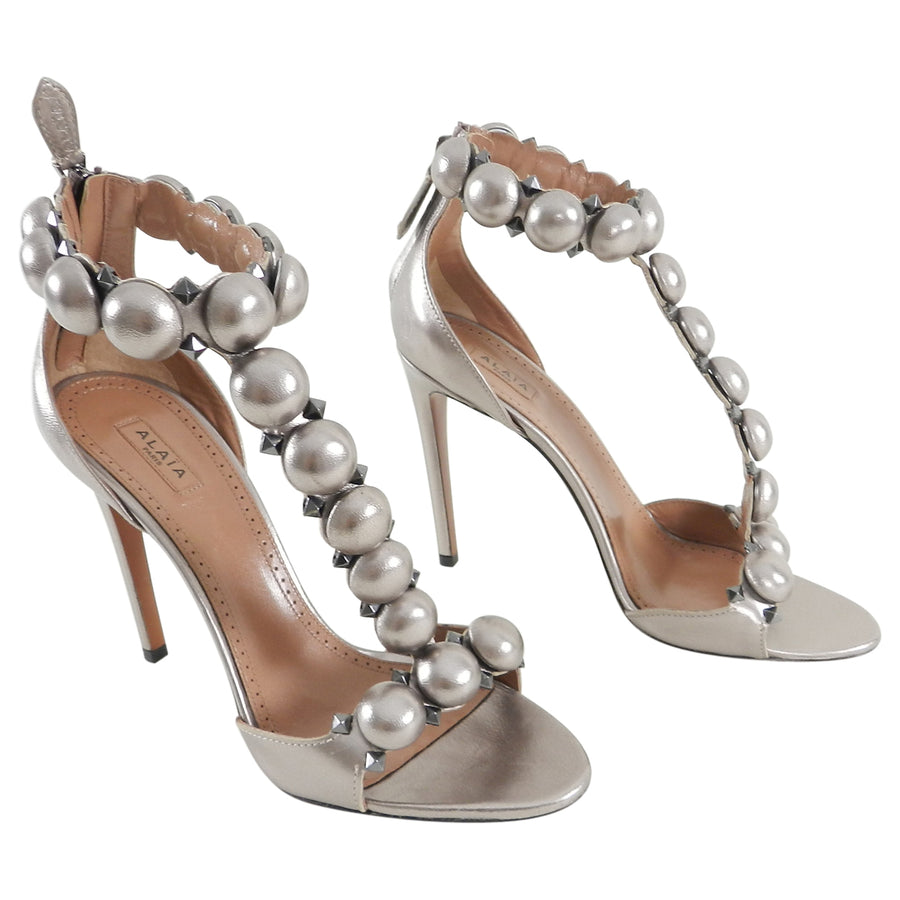 Alaia Pewter Metallic Leather T-Strap High Heel Sandals - 40