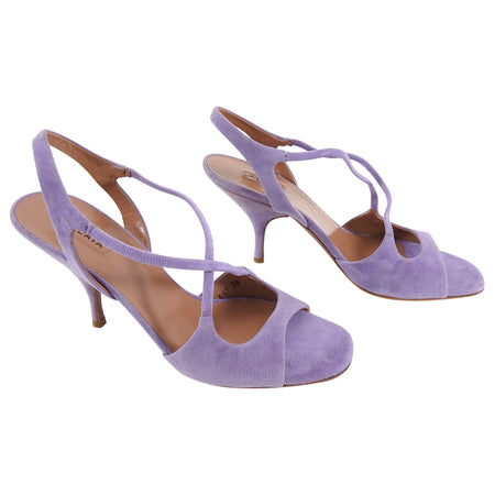 Alaia Light Purple Suede Strappy Sandals Heels - 38 / 7.5