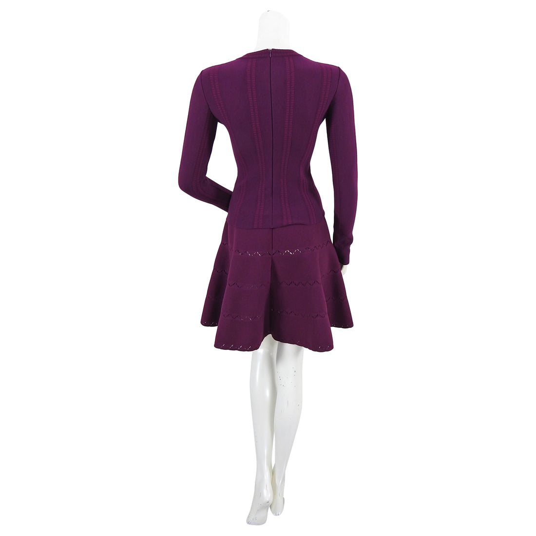 Alaia Purple Wool Knit Jersey Mini Skirt and Top Set - XS / 2 / 4