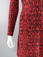 ALAIA Fall 2016 Red and black flocked Lace Overlay Cocktail Dress