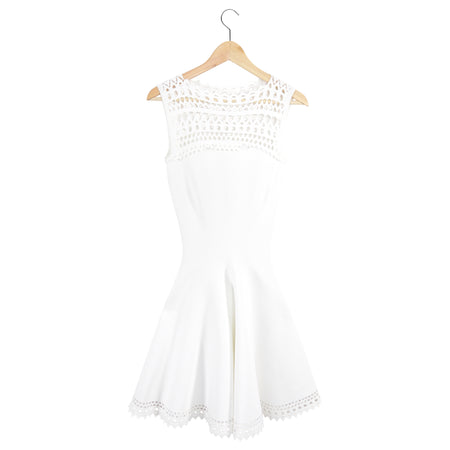 Alaia White Knit Sleeveless Lace Trim Dress - XS / 0