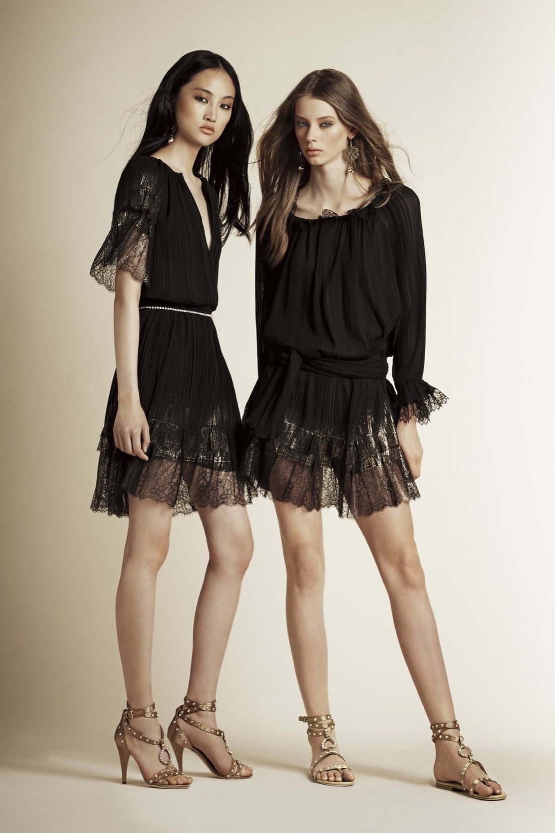 Alberta Ferretti Black Boho Dress with Gold Lace Hem – 8