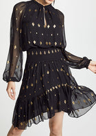 ALC Black Sheer Chiffon and Gold Metallic Sydney Boho Dress - 2/4