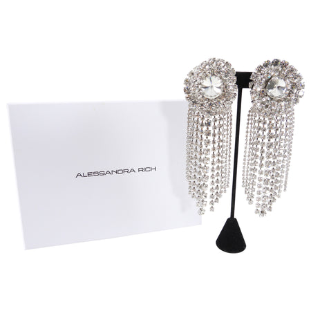 Alessandra Rich Huge Statement Rhinestone Crystal Fringe Earrings