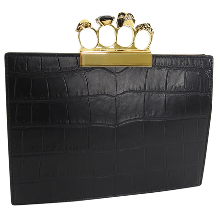 Alexander McQueen Black Crocodile Embossed Knuckle Duster Evening Clutch Bag