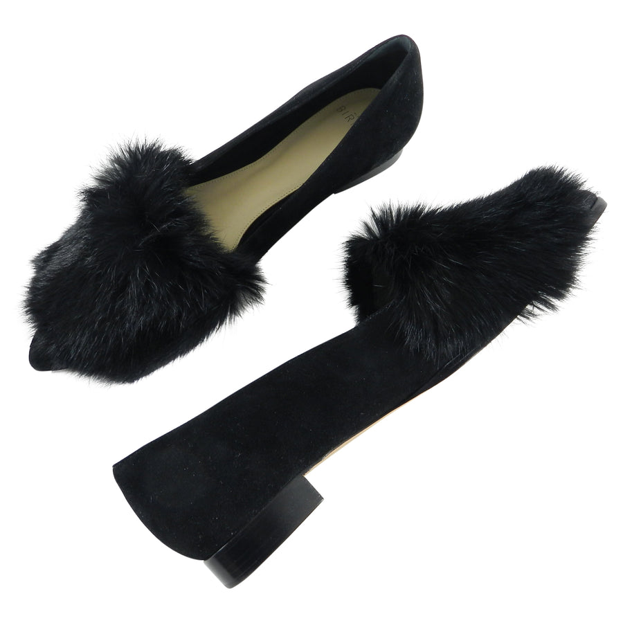 Alexandre Birman Johan Black Suede Flats with Fur Toe - 37