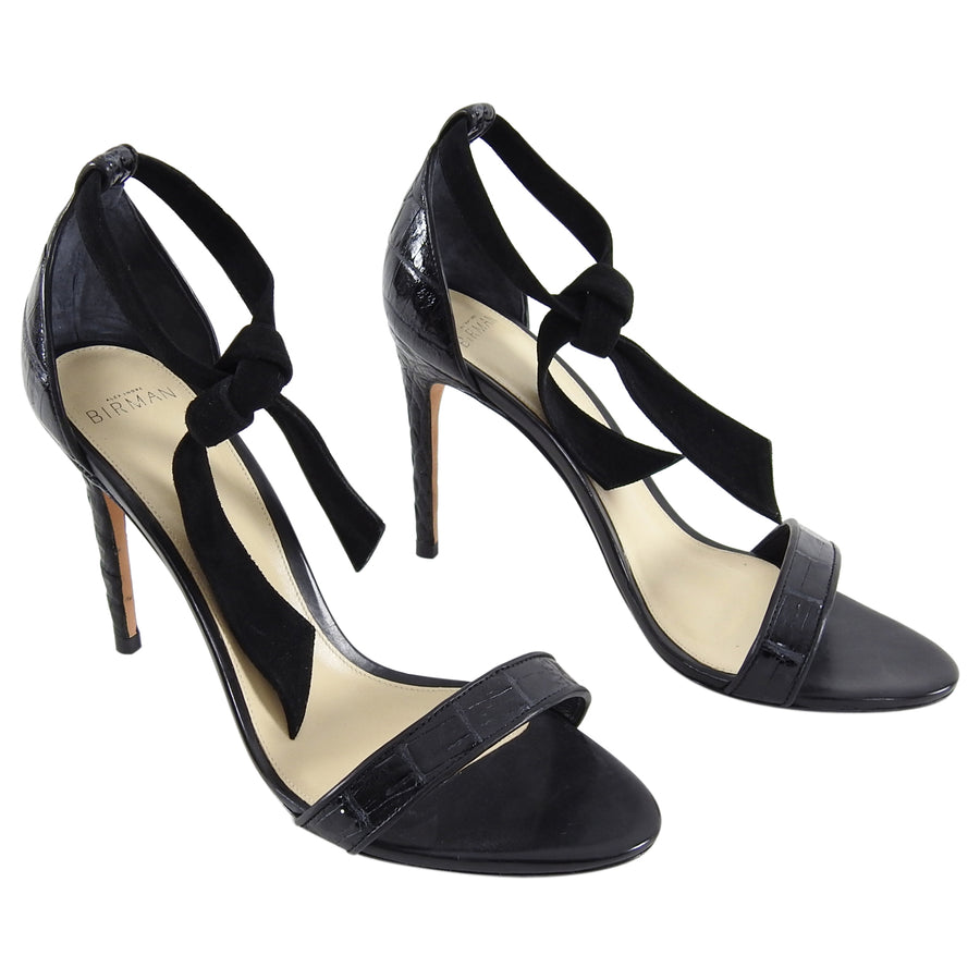 Alexandre Birman Black Croc High Heel Sandals with Ankle Tie - 40