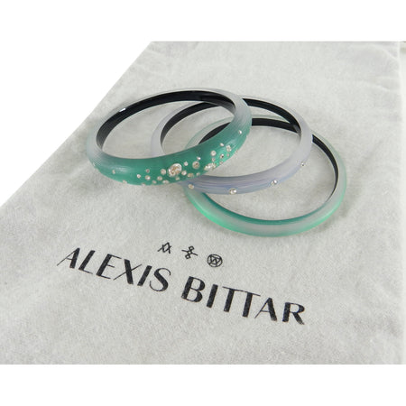 Alexis Bittar Green Triple Rhinestone Resin Bangle Set