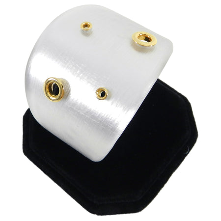 Alexis Bittar Pearly White Resin Cuff Bracelet with Gold Grommets