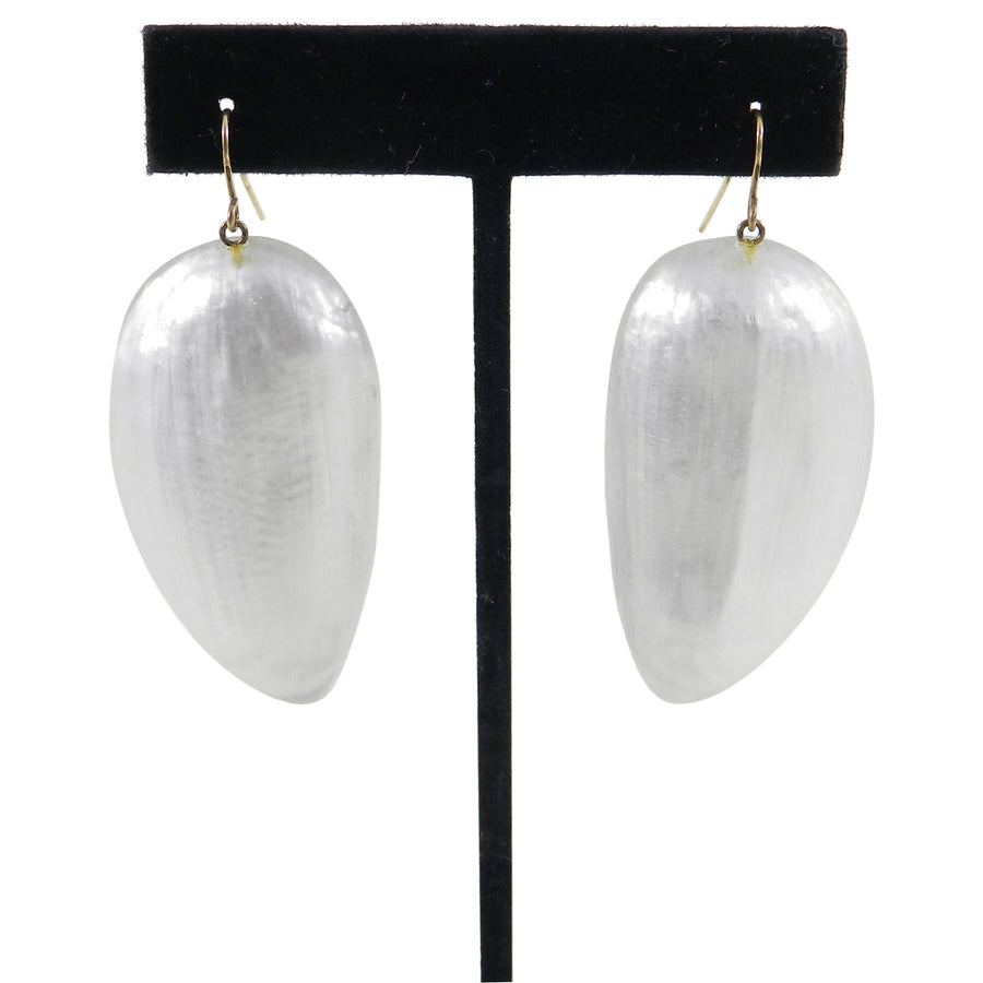 Alexis Bittar Pearly White Resin Drop Earrings