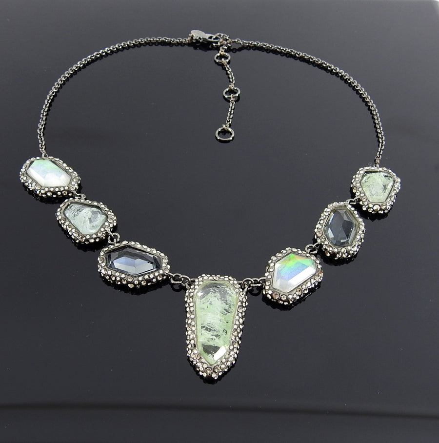 Alexis Bittar Green Irridescent Quartz Jewelled Necklace