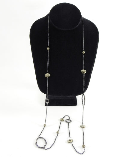 Alexis Bittar Long Single Strand Jewelled Beaded Pyrite Necklace
