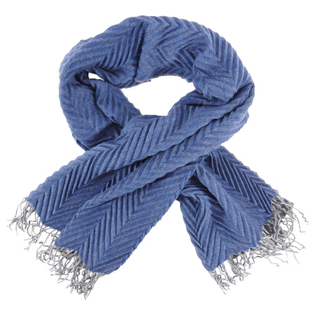 Alonpi Italy Blue and Grey Pleat Long Cashmere Fringe Scarf