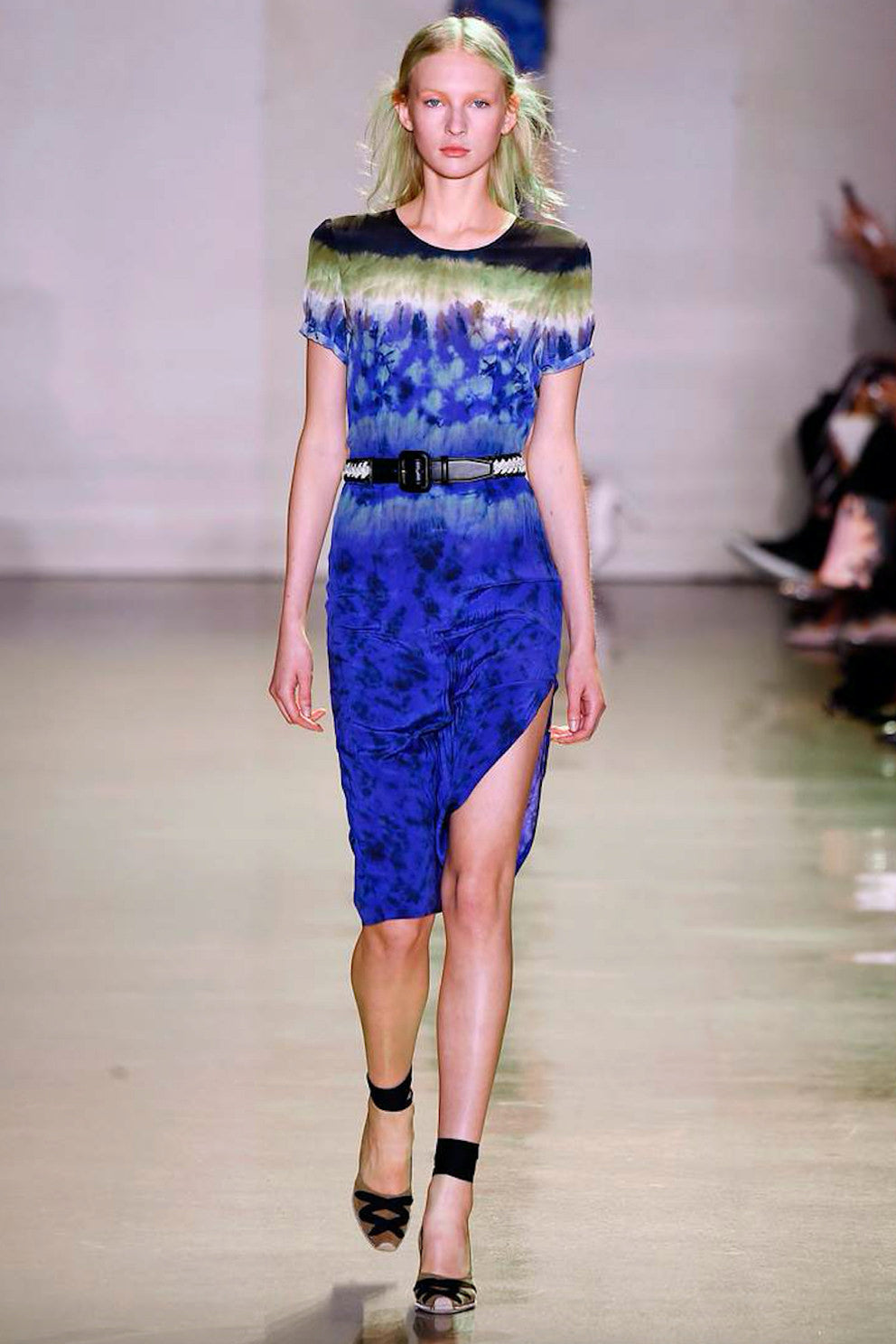 Altuzarra Glaze Blue and Rust Silk Tie Dye Dress