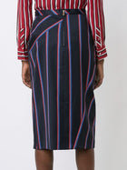 Altuzarra Monroe Navy and Red Striped Wool Pencil Skirt - 12