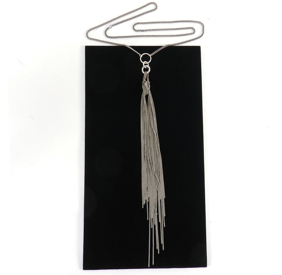Ann Demeulemeester Sterling Long Chain Fringe Tassel Necklace