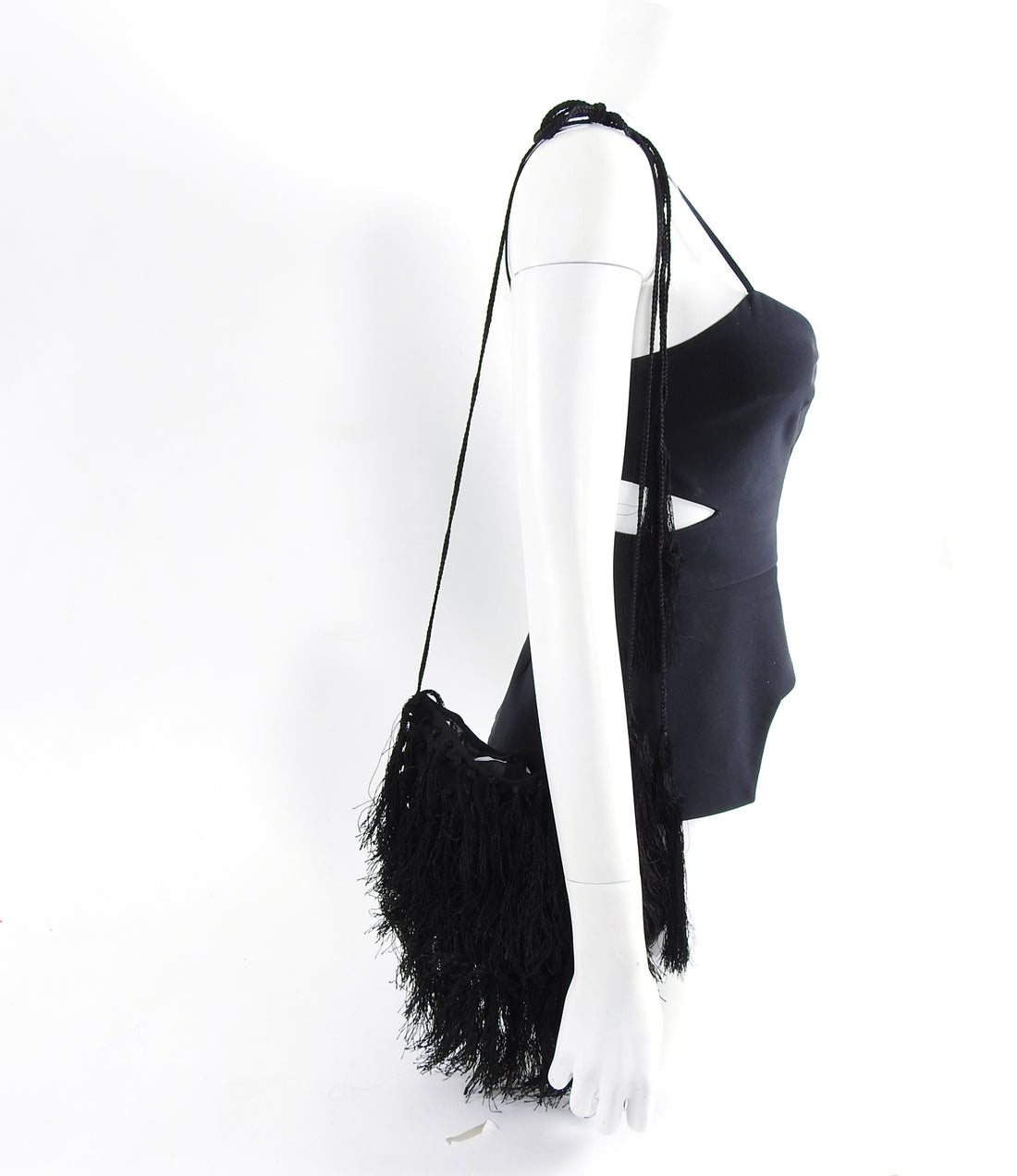 Ann Demeulemeester Black Silk Fringed Tassel Bag