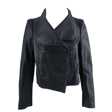 Ann Demeulemeester Black Leather Jacket With Textured Pattern