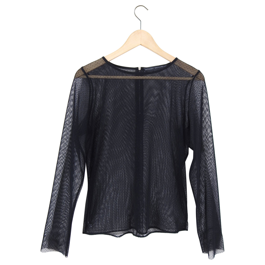 Anthony Vacarello Black Mesh Sheer Long Sleeve Top - L
