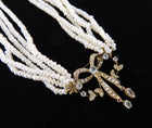 Antique Edwardian Gold and Blue Topaz Seedpearl Multi Strand Necklace