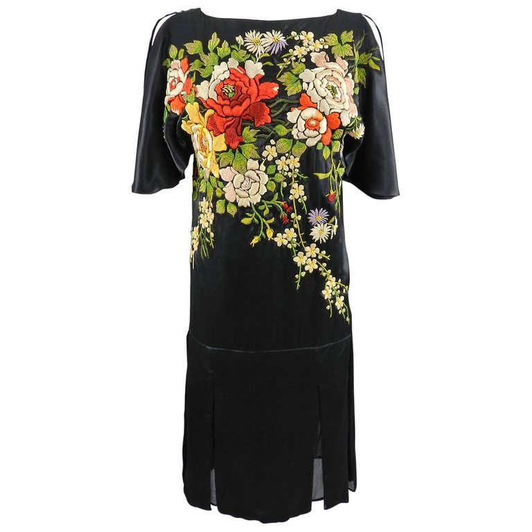Antonio Marras Art Deco Runway Embroidered Silk Chinoiserie Dress