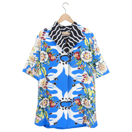 Antonio Marras Blue Floral Surrealist Pattern Cotton Swing Coat - M