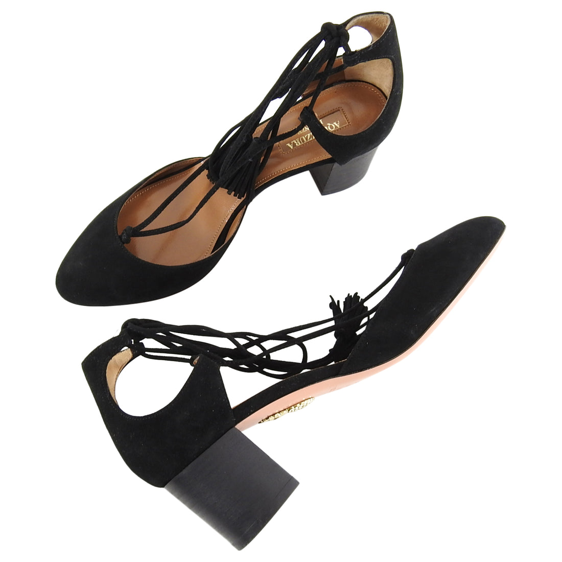 Aquazzura Black Suede Boheme Low Block Heel Shoes - 36.5