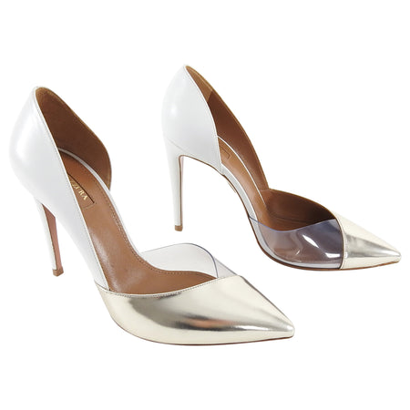Aquazzura White Gold Clear Vinyl Pumps Heels - 40