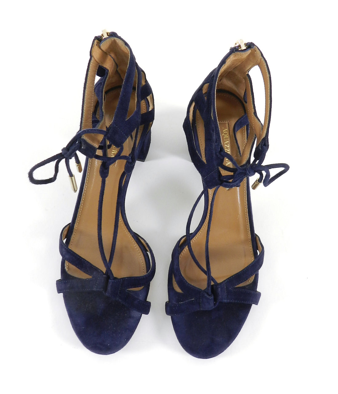 Aquazzura Navy Suede Beverly Hills Suede Sandals - 38.5