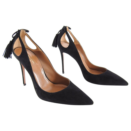 Aquazzura Forever Marilyn 100 Black Suede Tassel Pumps - 40