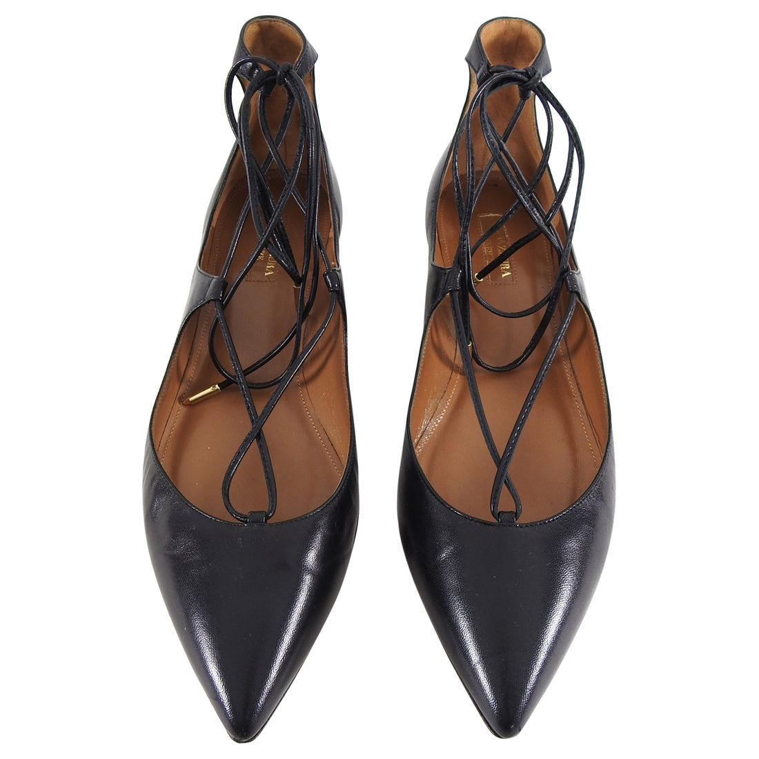 Aquazzura Black Leather Flat Lace Up Christy Shoes - 40