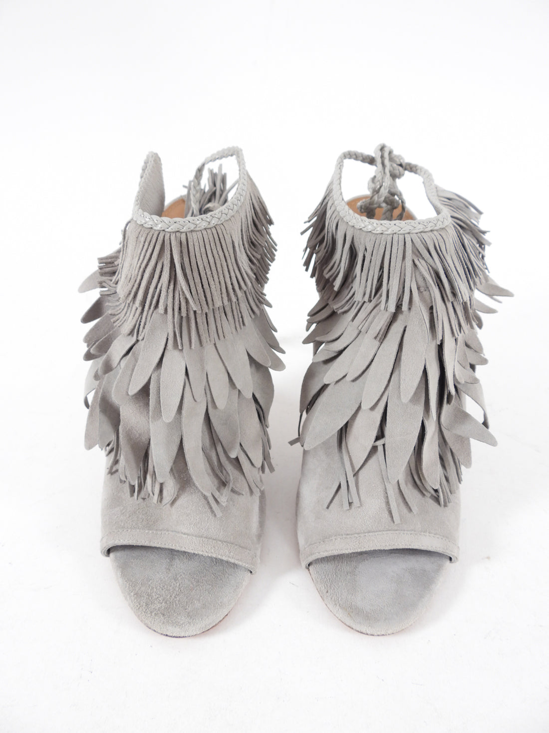 Aquazzura Grey Suede Fringe Mule Sandals - 40 / 9.5