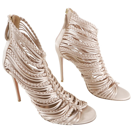 "34332bf87f23 Aquazzura Nude ""Goddess"" 105mm Satin Caged Heels - 40"