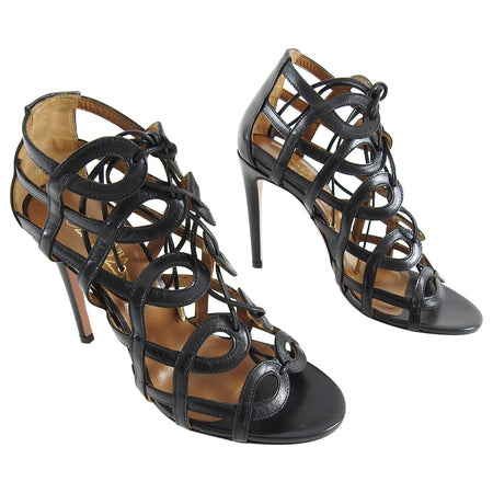 Aquazurra x Olivia Palermo Black Gladiator Lace up Heels - 35.5