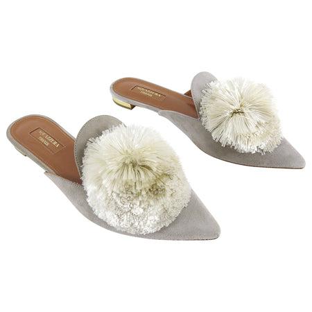 Aquazzura Powder Puff Flat Light Grey Suede Shoes - 37